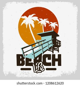 Beach Life  Lifeguard Tower Station Beach Rescue Palm Trees Logo Sign Label Design For Promotion Ads t shirts Sticker Poster Flyer Vector Graphic.
