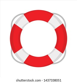 Beach lifebuoy icon. Flat illustration colored vector isolated icons of Tropical Summer theme for web