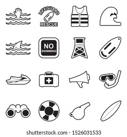 Beach Lifeguard Icons. Line With Fill Design. Vector Illustration.