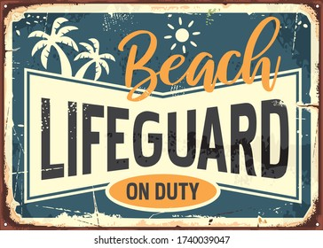 Beach lifeguard on duty retro summer sign info with sun and palm trees. Summer holiday banner. Sea and safe swimming vector graphic concept.