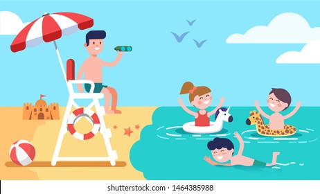 Beach lifeguard safeguarding watching kids sitting on lifeguard tower ensuring safety. Summer holidays recreation. Happy girl & boys children enjoying safe sea water swimming. Flat vector illustration