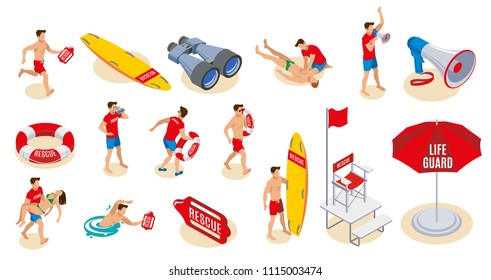 Beach lifeguards inventory isometric icons  set of binocular loudspeaker umbrella lifebuoy surfboard chair with flag isolated vector illustration