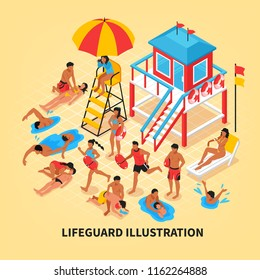 Beach lifeguards isometric vector illustration with female lifeguard watching through binoculars from lookout tower and savers performing artificial respiration