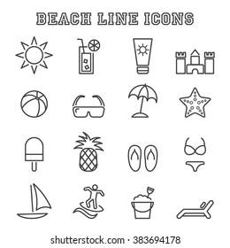 beach line icons, mono vector symbols
