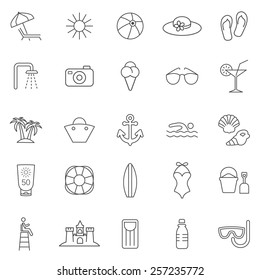 Beach line icons set.Vector