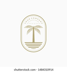 Beach logo badge design concept