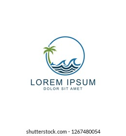 Beach Logo, icon vector logo template