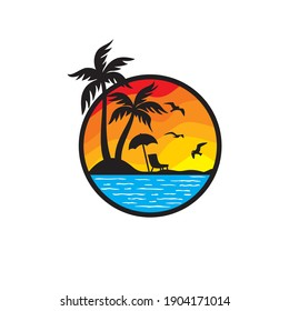 Beach Logo and Summer logo template vector illustration,  Template for logo on the theme of tourism with a palm trees.