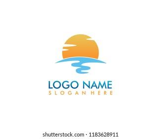 Beach logo template vector