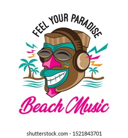 Beach logo with Tiki Icon listening music, good for Event music festival