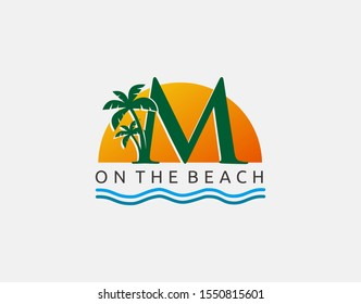 Beach M Letter Icon. Sunset and Palm Tree Letter M Logo Icon. Perfect for surfing shop, sport, Tour and Travel. Initial M with sea wave and palm tree.
