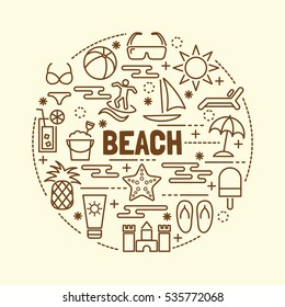 beach minimal thin line icons set, vector illustration design elements