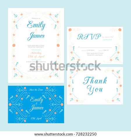 Beach Nautical Wedding Invitation Template Stock Vector (Royalty ...