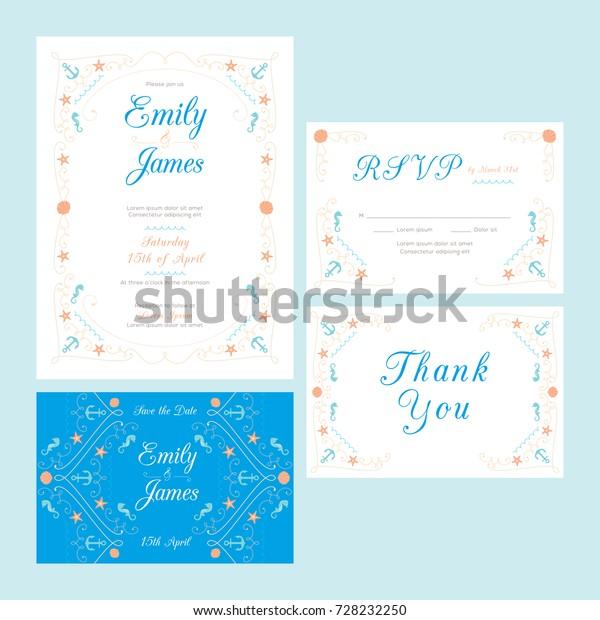 Beach nautical wedding invitation template