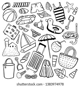 Beach objects vector outline hand drawn illustration set black on white background