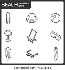 Beach outline isometric icons