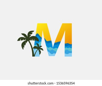 Beach and Palm Tree Letter M Logo Icon. Perfect for surfing shop, sport, Tour and Travel. Initial M with sea wave and palm tree.