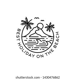 Beach with palm tree and mountain badge logo design with text