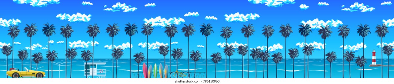 The beach with palm trees and the blue sky