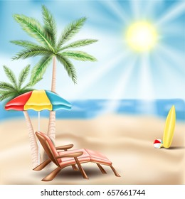 Beach with palm trees, chaise longue and beach attributes. Vector realistic illustration EPS 10.