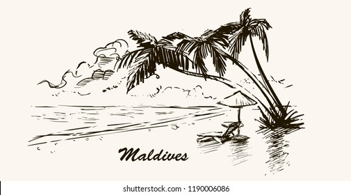 Beach with palm trees in Maldives.Hand drawn sketch Maldives illustration in retro frame.Isolated on white background.