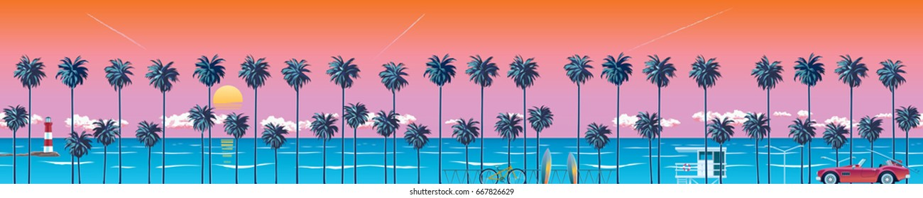 Beach with palm trees at sunset, turquoise ocean water and orange sky with clouds. A natural backdrop for a summer vacation. Surfing beach. EPS 10 vector illustration