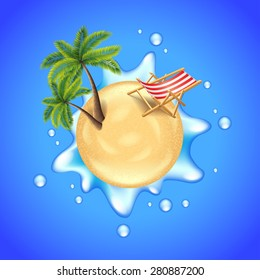 Beach with palms, deck chair and water splash travel concept vector