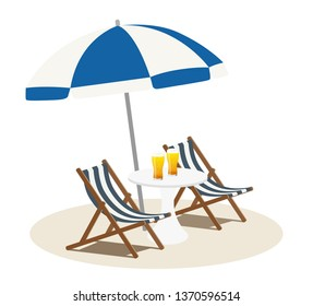 Beach parasol and chair with glass beer