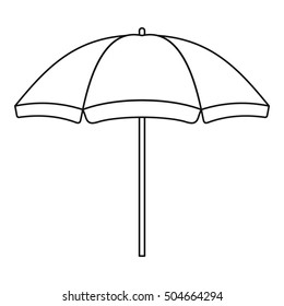 Beach parasol icon. Line illustration of beach parasol vector icon logo isolated on white background