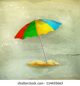 Beach parasol, old-style vector