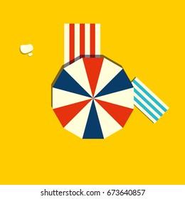 Beach parasol or sun umbrella icon. Top view of a open vintage beach umbrella. Summertime vector illustration.