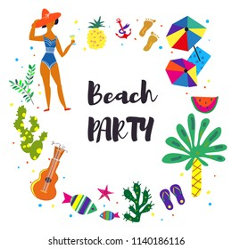 Beach party background for the card or invitation. Vector graphic illustration