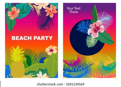 Beach Party cards set. Retro design with  palm leaves, tropical fowers and colorful sky. Template for covers, banners, flyers, wedding invitations. On multicolored background.