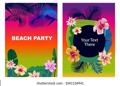 Beach Party cards set. Retro design with  palm leaves, tropical fowers and colorful sky. Template for covers, banners, flyers, wedding invitations. On blue background.