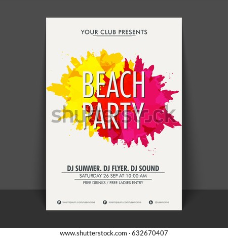beach party flyer template banner design stock vector royalty free