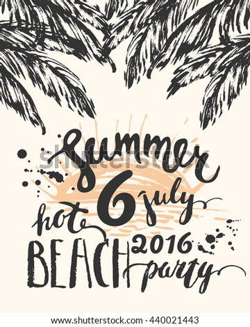 beach party flyer template palm leaves のベクター画像素材