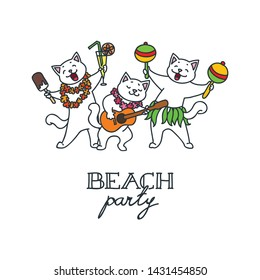 Beach party. Illustration of a three funny cats enjoying beach party. Vector 8 EPS