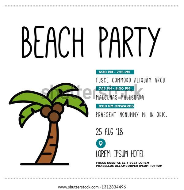 Beach Party Invitation Design Where When Stock Vector (Royalty ...