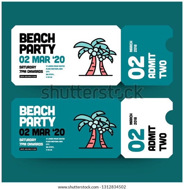 Beach Party Invitation Design Where When Stock Vector (Royalty ...