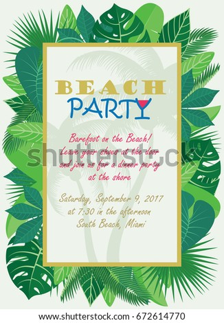 Beach Party Invitation Template Tropical Leaves Stock Vector