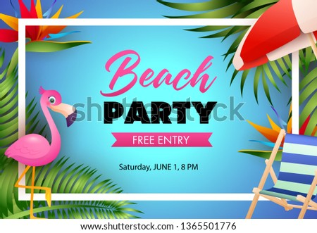Beach Party Poster Design Pink Flamingo Stock Vector (Royalty Free