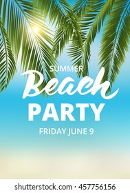 Beach party poster template with typographic element. EPS10 vector illustration.