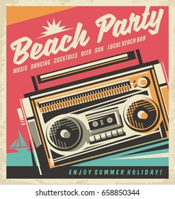 Beach party retro poster design template with cassette recorder on colorful background. Summer vector illustration.