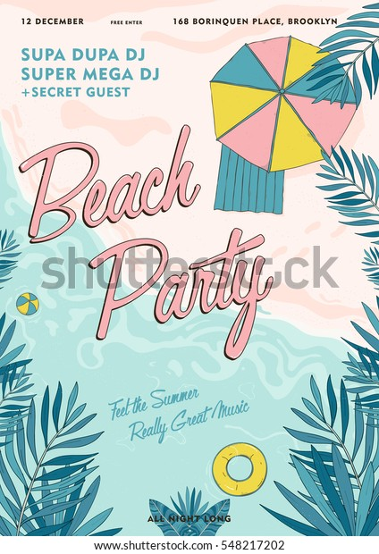 Beach party tropical poster colorful. Summer event, festival vector Illustration placard.