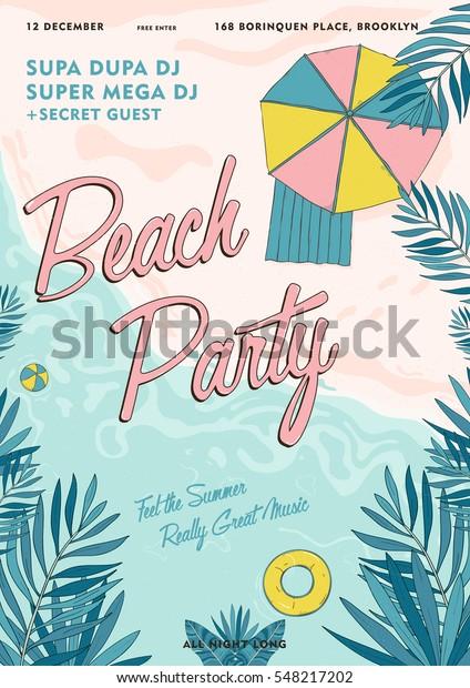 Afiche tropical de fiesta en la playa colorido. Evento de verano, cartel de ilustración del vector del festival.