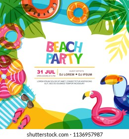 Beach party vector summer poster design template. Swimming pool with float rings doodle illustration. Multicolor inflatable kids toys. Trendy design concept for summer poster or banner.