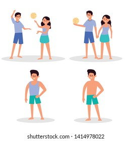 Beach people. couple holiday vacation, sunbathing on beach and happy friends summer fun. Traveler characters,  play volley, swimmer surfboard tourism. Cartoon vector isolated icons illustration set