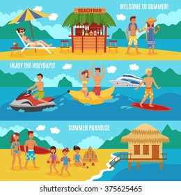 Beach people horizontal banner set with family summer vacation elements isolated vector illustration