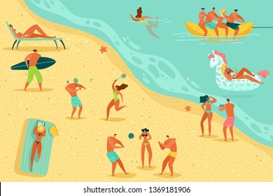 Beach people relaxing. Persons swim sunbathing women men kids water games sea ocean family summer vacation sunbathe relax, flat vector concept