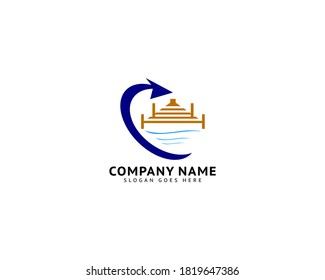 Beach Pier Dock Logo Design Vector